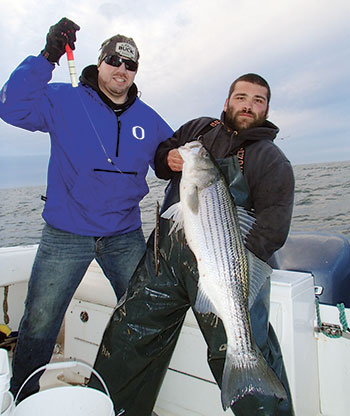Fishing an eel deep under a large float is another productive tactic when marking schools of suspended stripers in late fall.