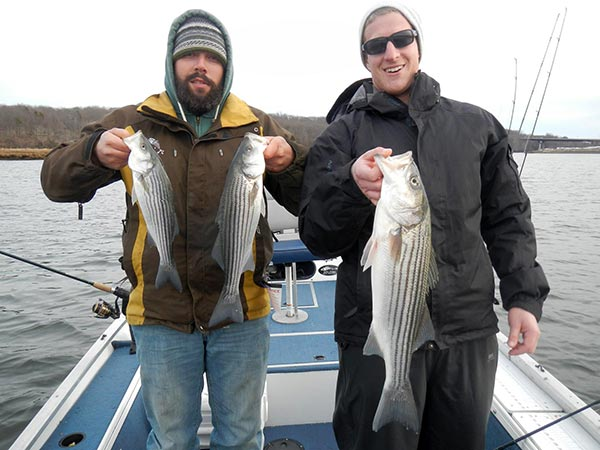 Once a school of stripers is located, the catch-and-release action is usually fast. Alex Covino (left) and the author jigged up these schoolie stripers.