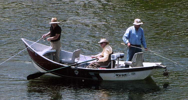 A drift boat is the perfect platform for trout fishing on the West Branch of the Delaware River.