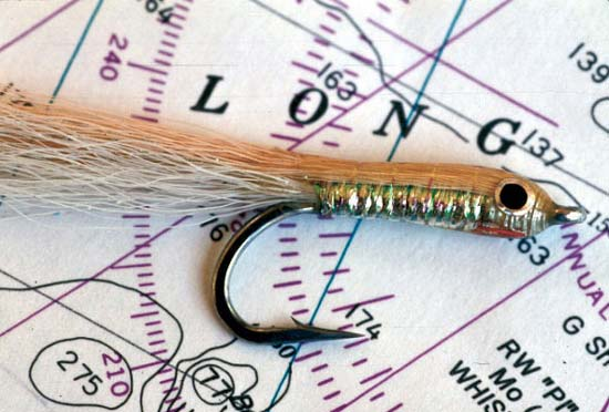 Capt. Jim Levinson's favorite bay anchovy imitation is a Glenn Michelson Epoxy Minnow.