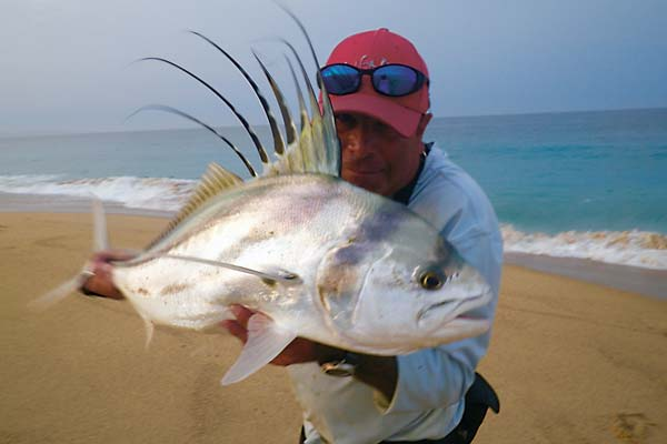 Rods must be long and stout to subdue tropical gamefish in big surf.