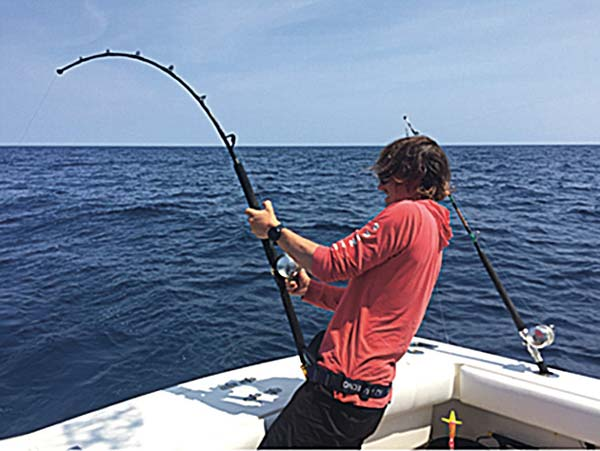 Angler Connor White fights a stout 47-inch yellowfin