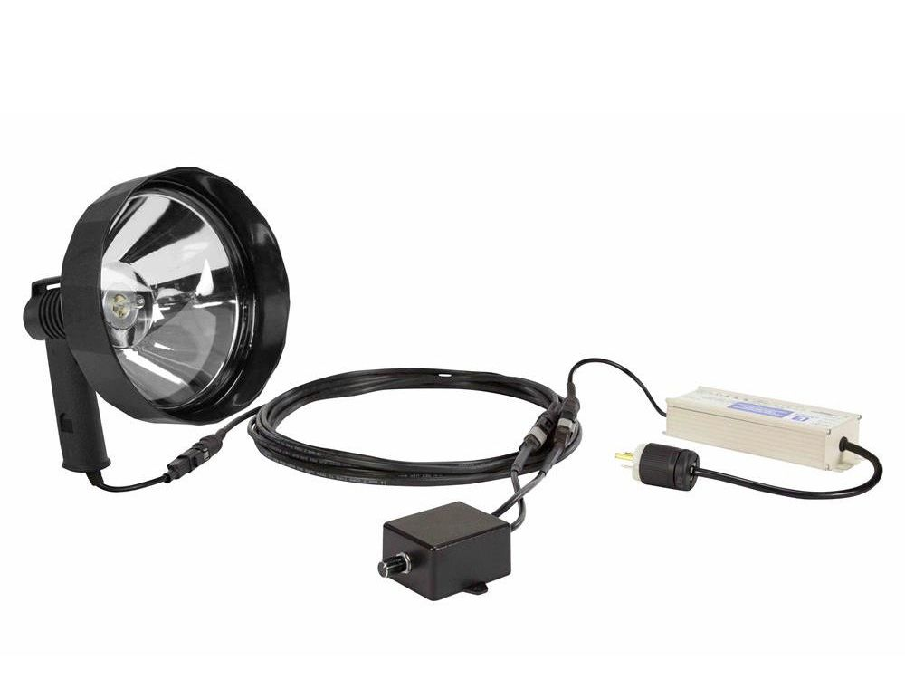 Larson Electronics' HL-85-CPR-D-1227 handheld spotlight has 7 million candlepower, generating 1,800 lumens and providing a beam reach of more than 1,600 feet with one 100-watt halogen bulb.