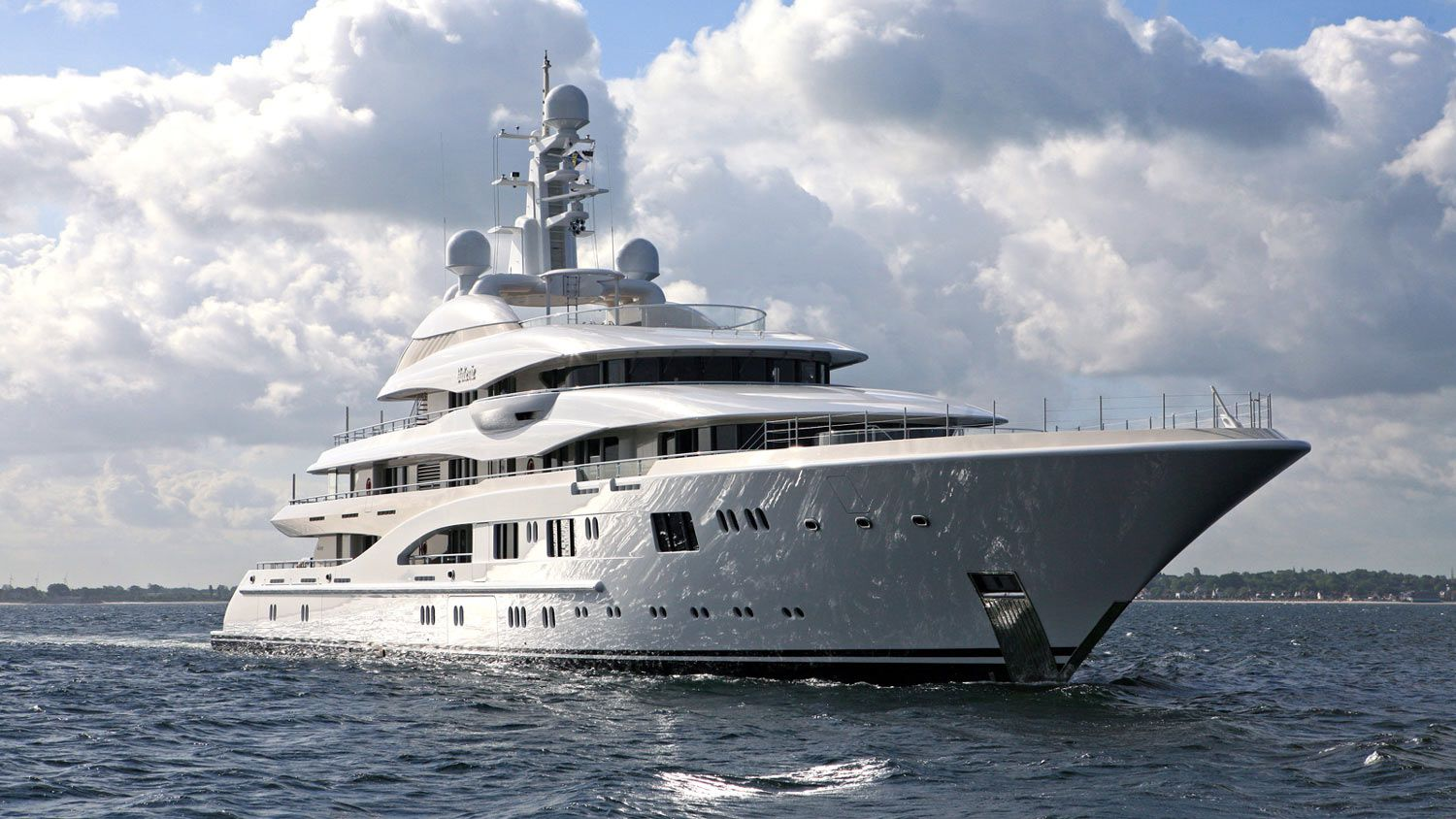 The 270-foot Lürssen <em>Valerie</em> has an asking price of about $189.9 million. She accommodates 12 guests in six staterooms, with an additional guest-quality staff cabin on the upper deck.