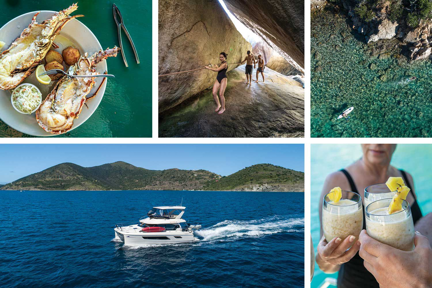 Clockwise from top left: Fresh Anegada lobster. Hiking in The Baths. Snorkeling at Norman Island. Pina Coladas on the hook. Cruising off Jost Van Dyke.