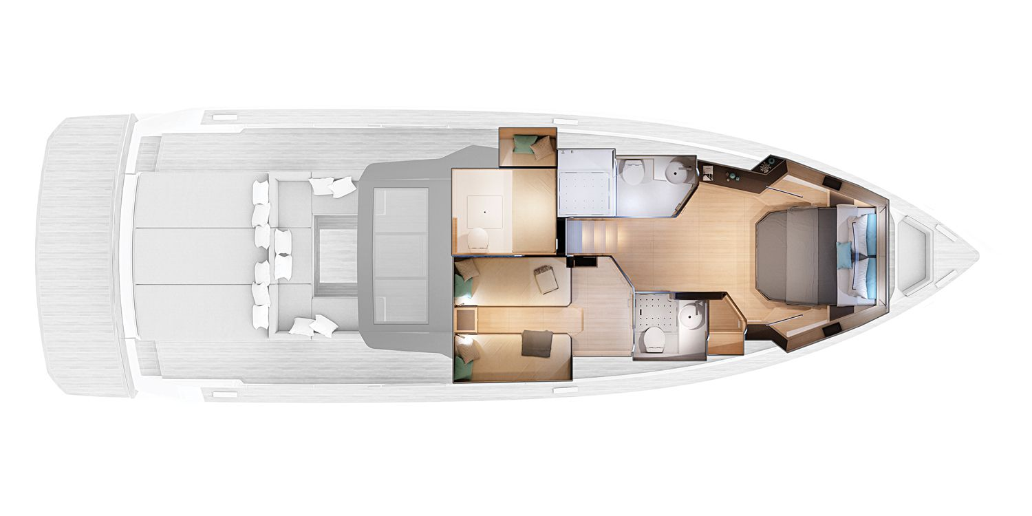 The sense of interior volume on the Pardo 50 can be ­deceiving when viewing the yacht from the outside. Belowdecks, there is 6-foot-­­3-inch headroom in the master and guest staterooms.