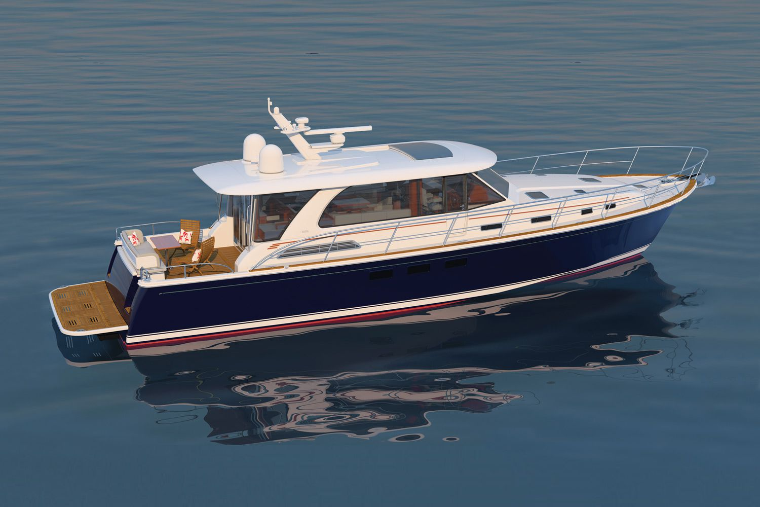 The Sabre 58 Salon Express' blue hull and white superstructure create a classic Downeaster appeal.