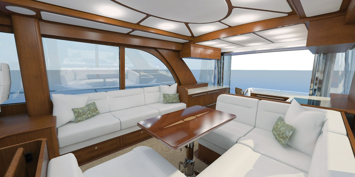 A dining area is opposite a settee in the salon, allowing for conversation among groups while keeping a clear pathway to the aft deck. Note the good views through the windows.