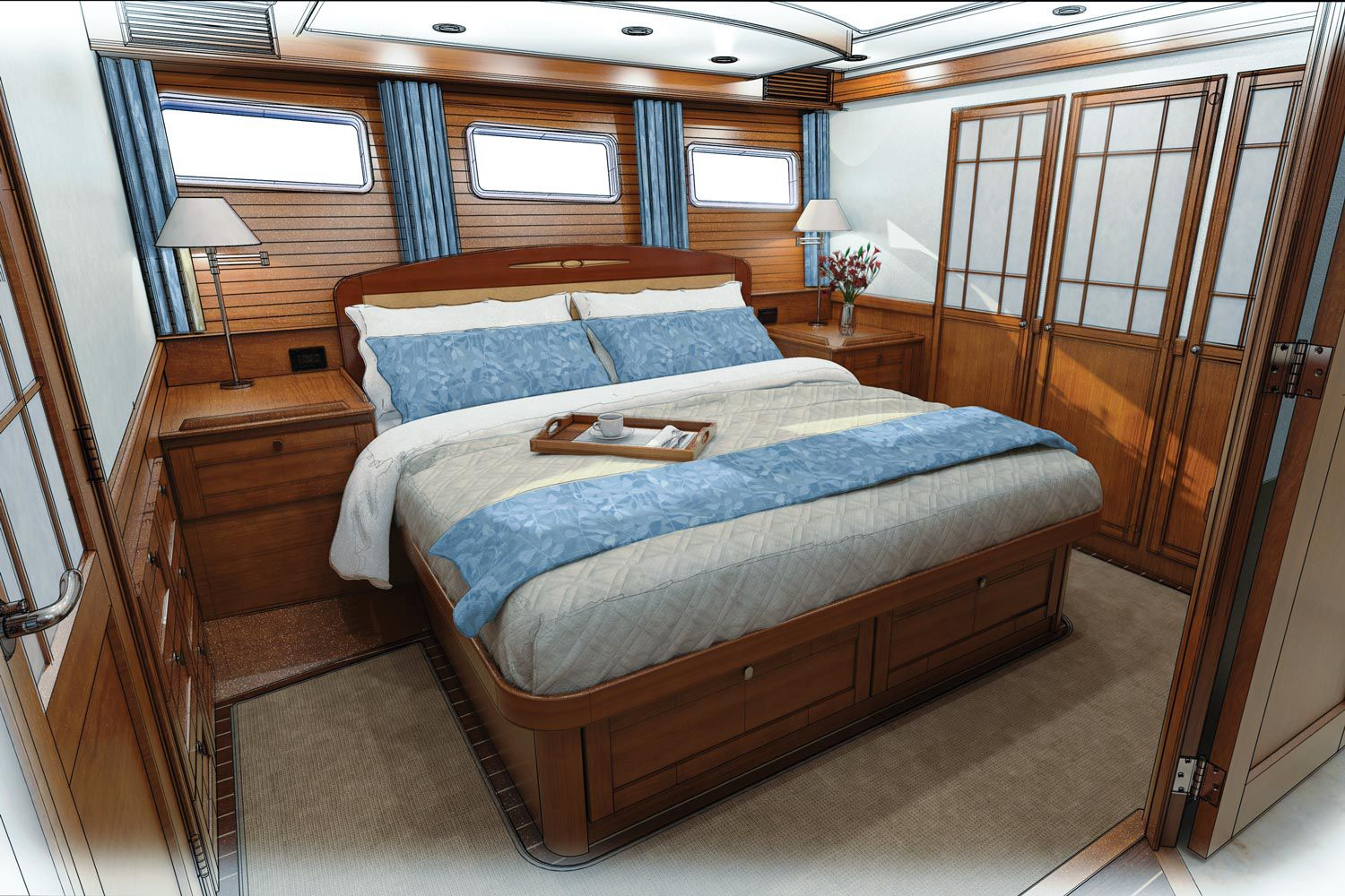 The full-beam master stateroom has a king berth. Its en suite head has designer accents such as stainless-steel towel bars and a wood-trimmed mirror over the sink.