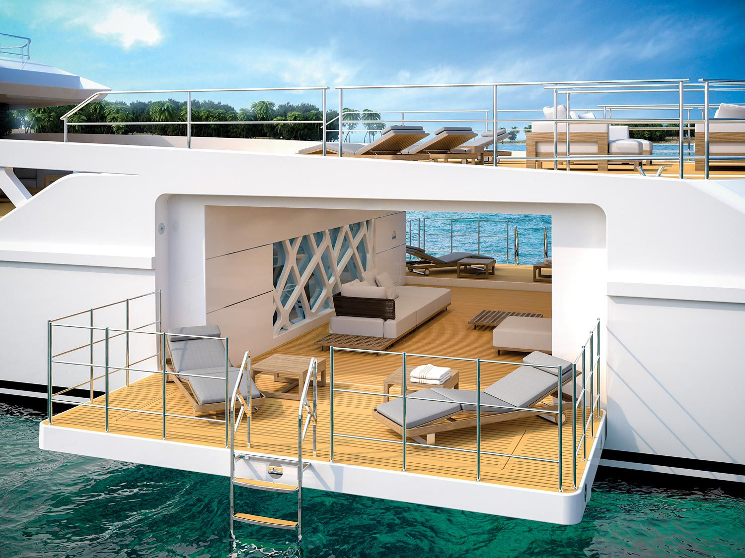 The Rosetti Superyachts supply vessel yacht concept combines the features of a shadow boat with those of a luxury yacht. Above this beach club is a helipad.