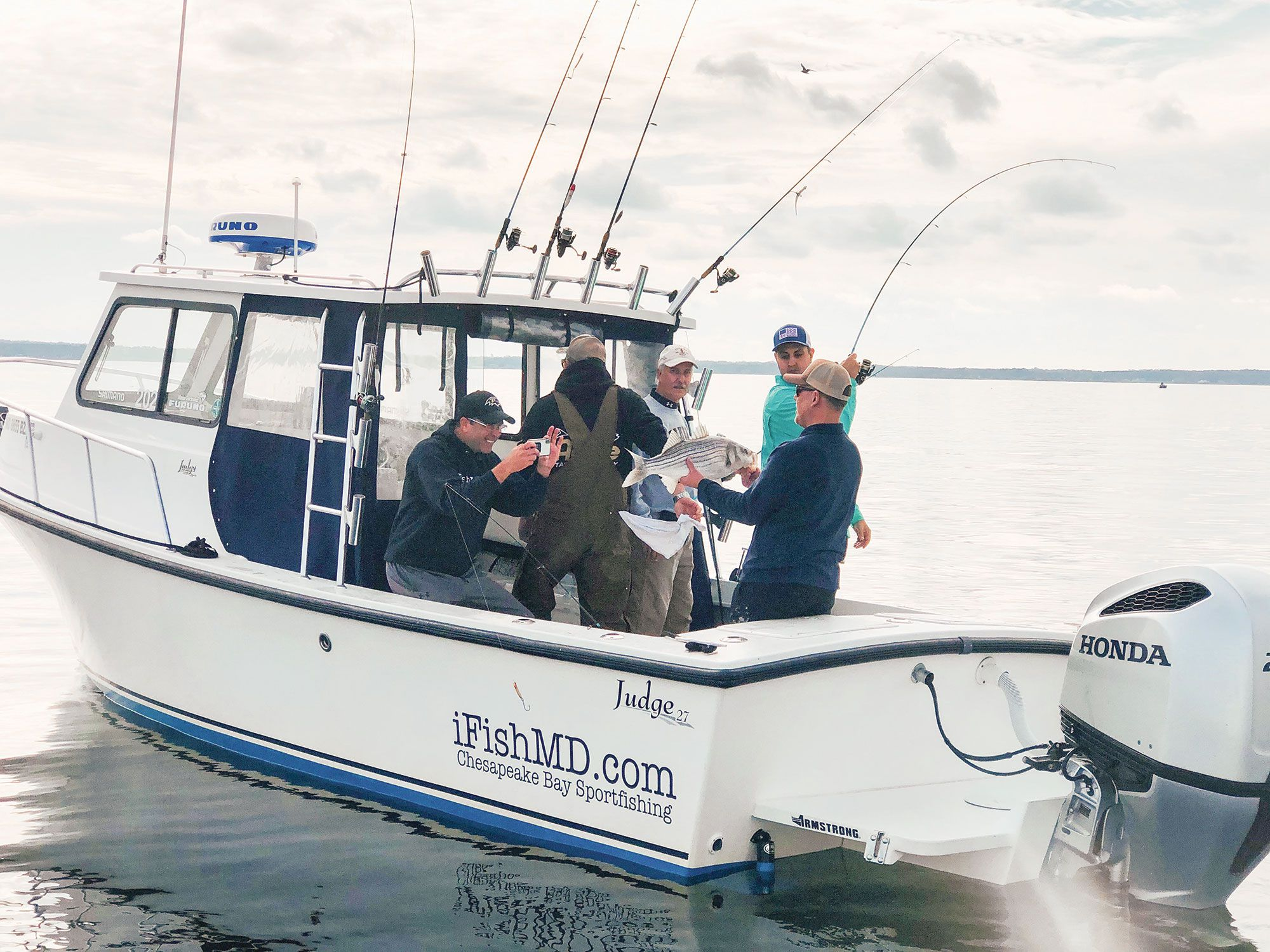 Capt. Greg Shute uses a Furuno DRS4D-NXT to find birds and stripers.