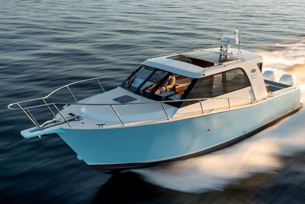 With optional twin 400 hp Mercury Verado outboards, the Coastal Craft 33 Express has a reported 45-knot top-end speed. Twin 350 hp Verados are standard. Top speed: 41 knots.