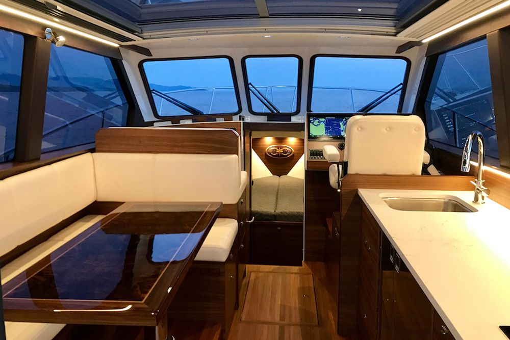 The 33 Express' interior is high-gloss black walnut with teak soles.