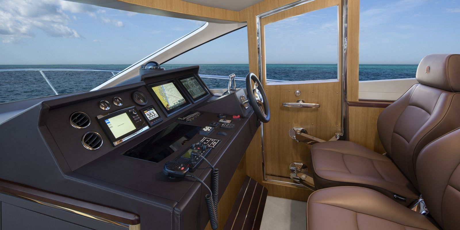 The lower helm has two Treben electrical, leather helm seats.