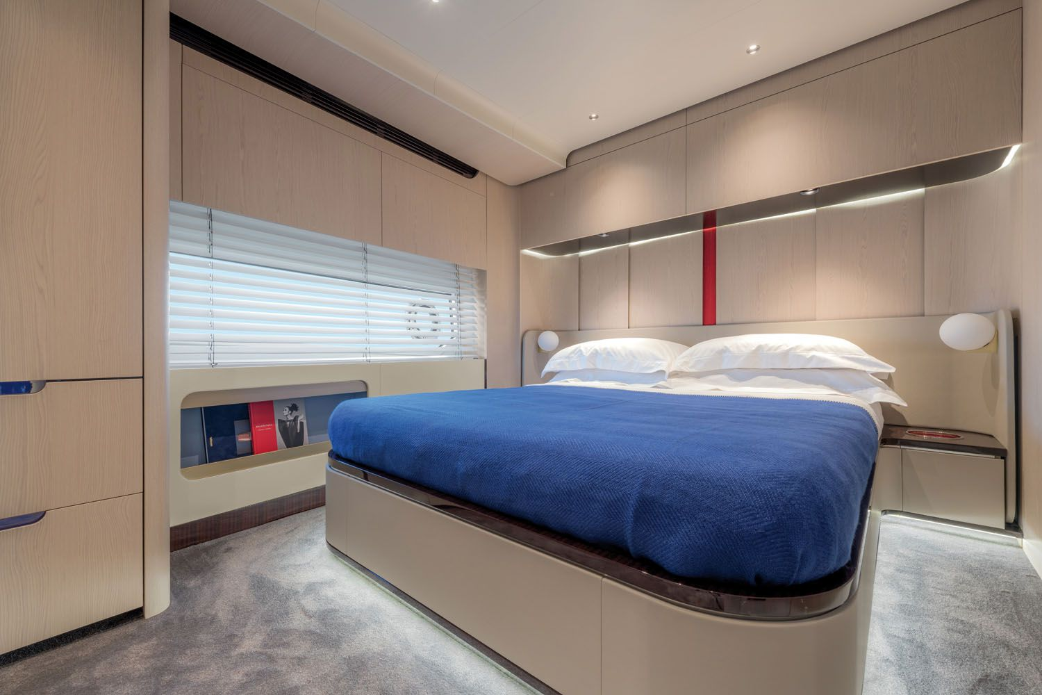 The yacht has a four-stateroom layout, plus two crew cabins.
