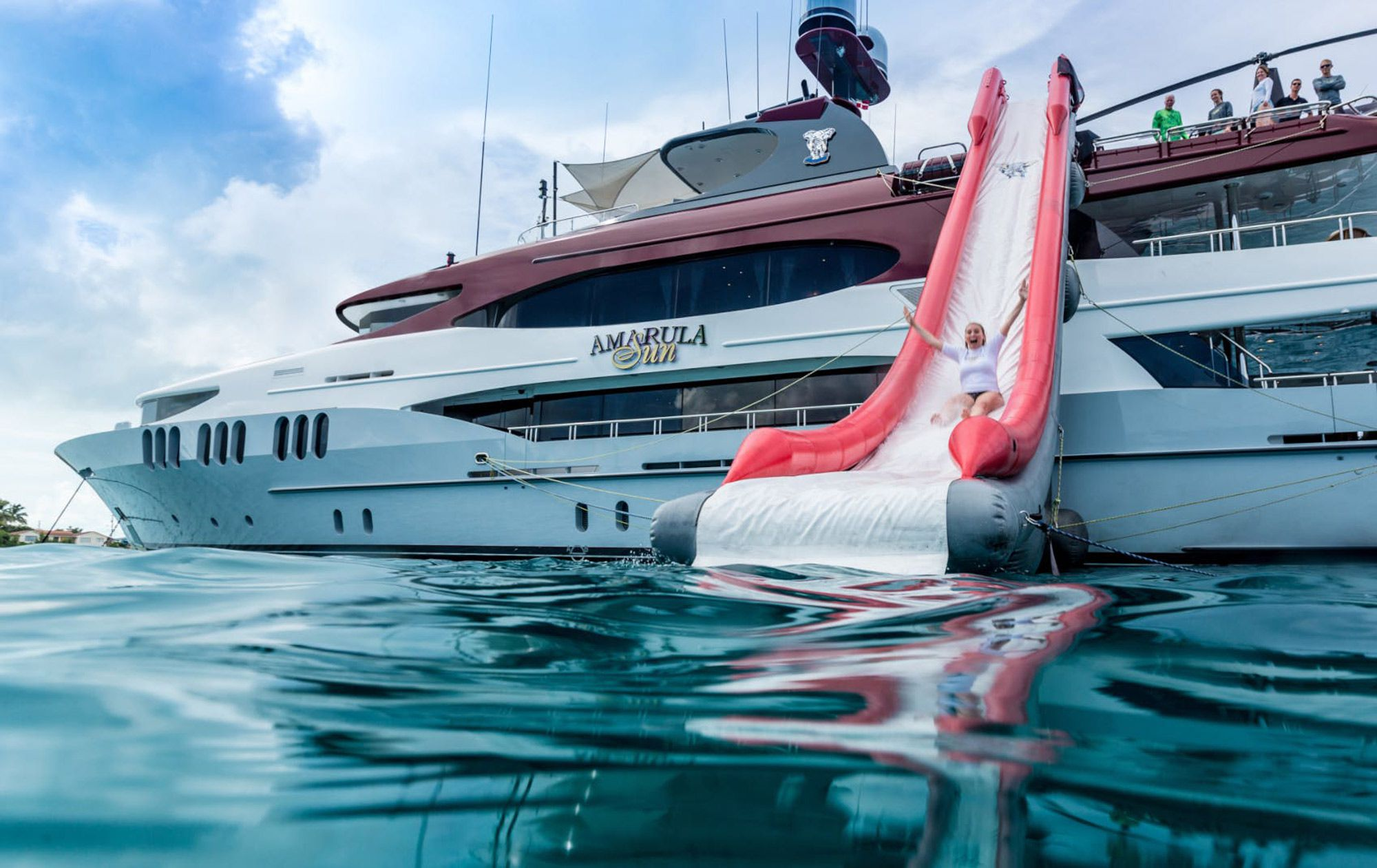 The yacht has an array of watertoys and tenders, including this slide.