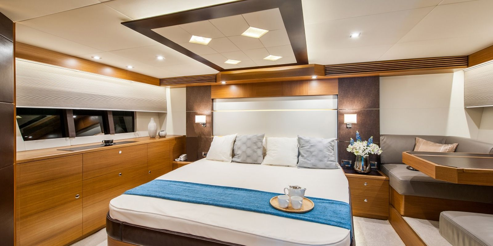 The Dyna 63's master stateroom is full-beam with a king-size berth.