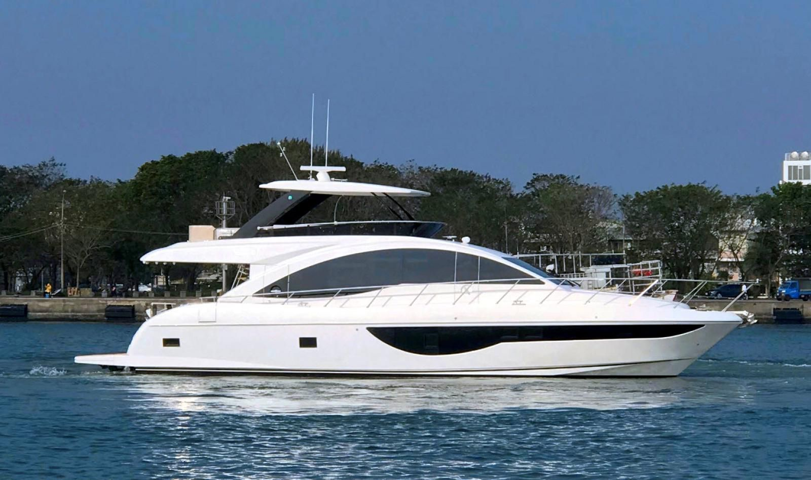 The Dyna 63 is designed for the growing cruising family with a three-stateroom, two-head layout.