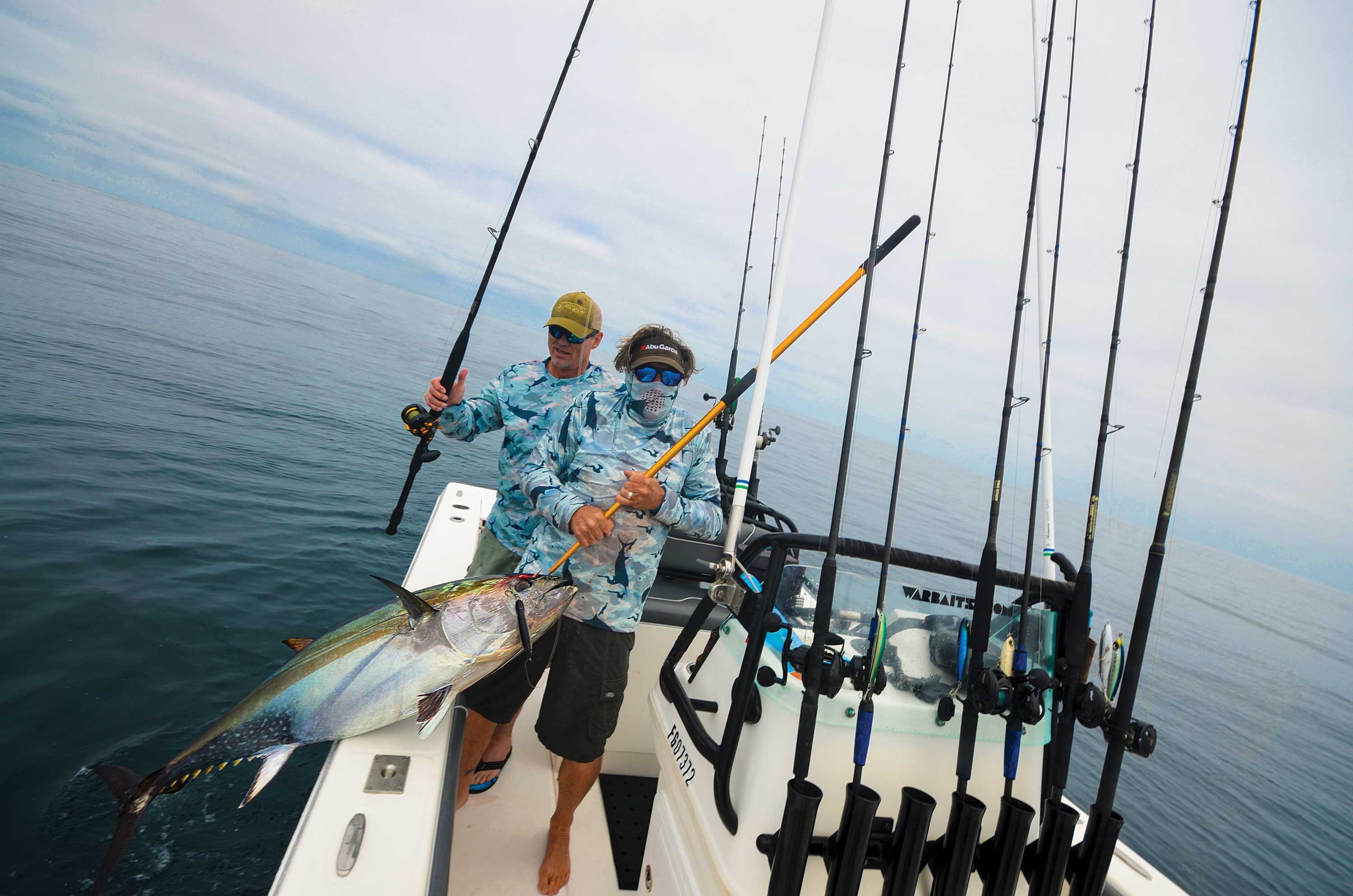 A bluefin tuna comes  aboard, testimony to bay-boat effectiveness offshore.