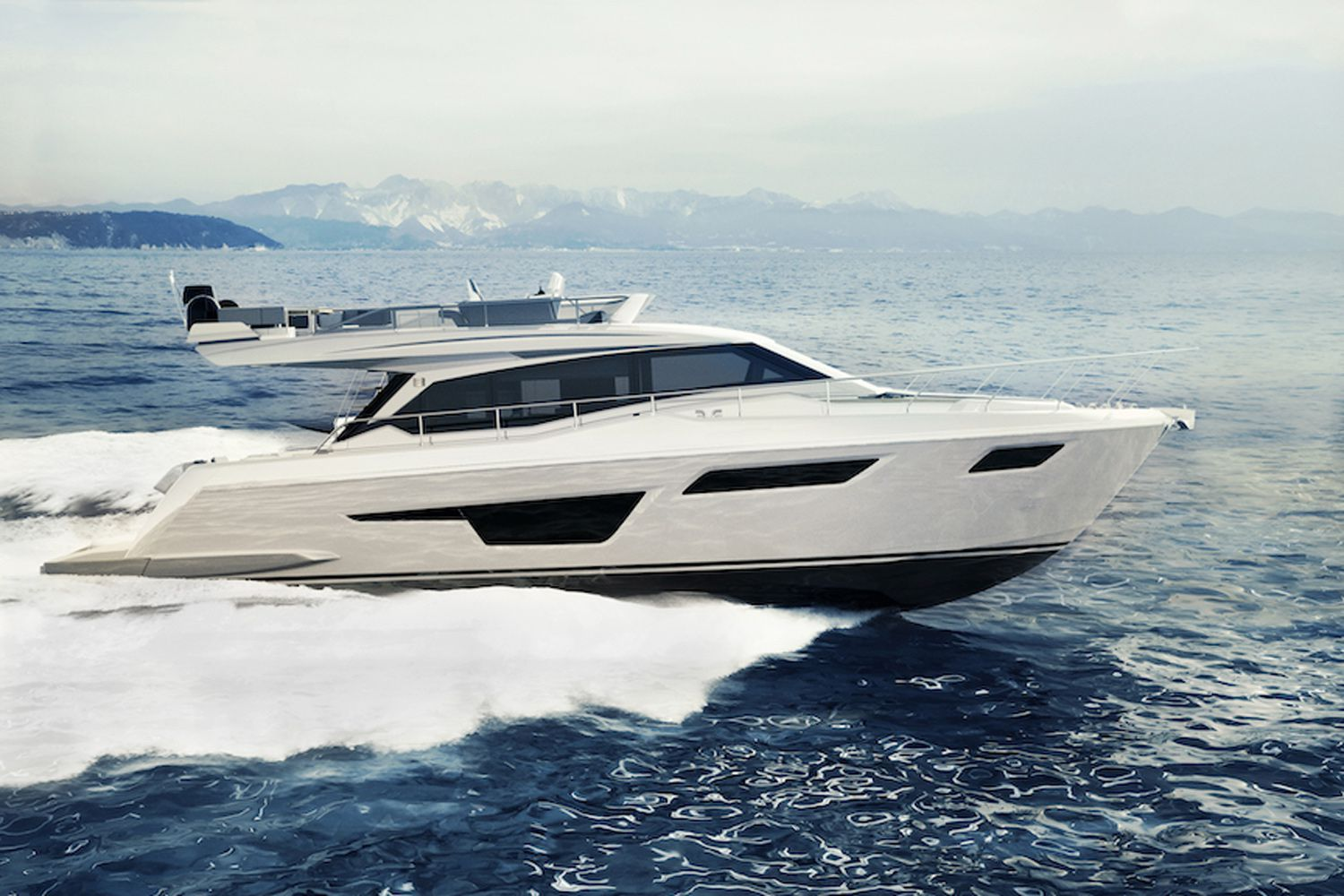 Ferretti Yachts says the 500 will cruise at 25 knots and have a 30-knot top speed.