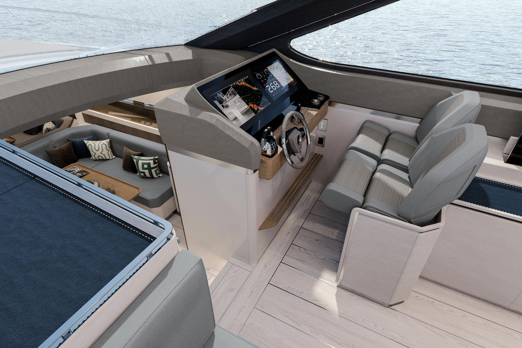 Twin helm seats enjoy clear lines of sight on the Uniesse HTC5.
