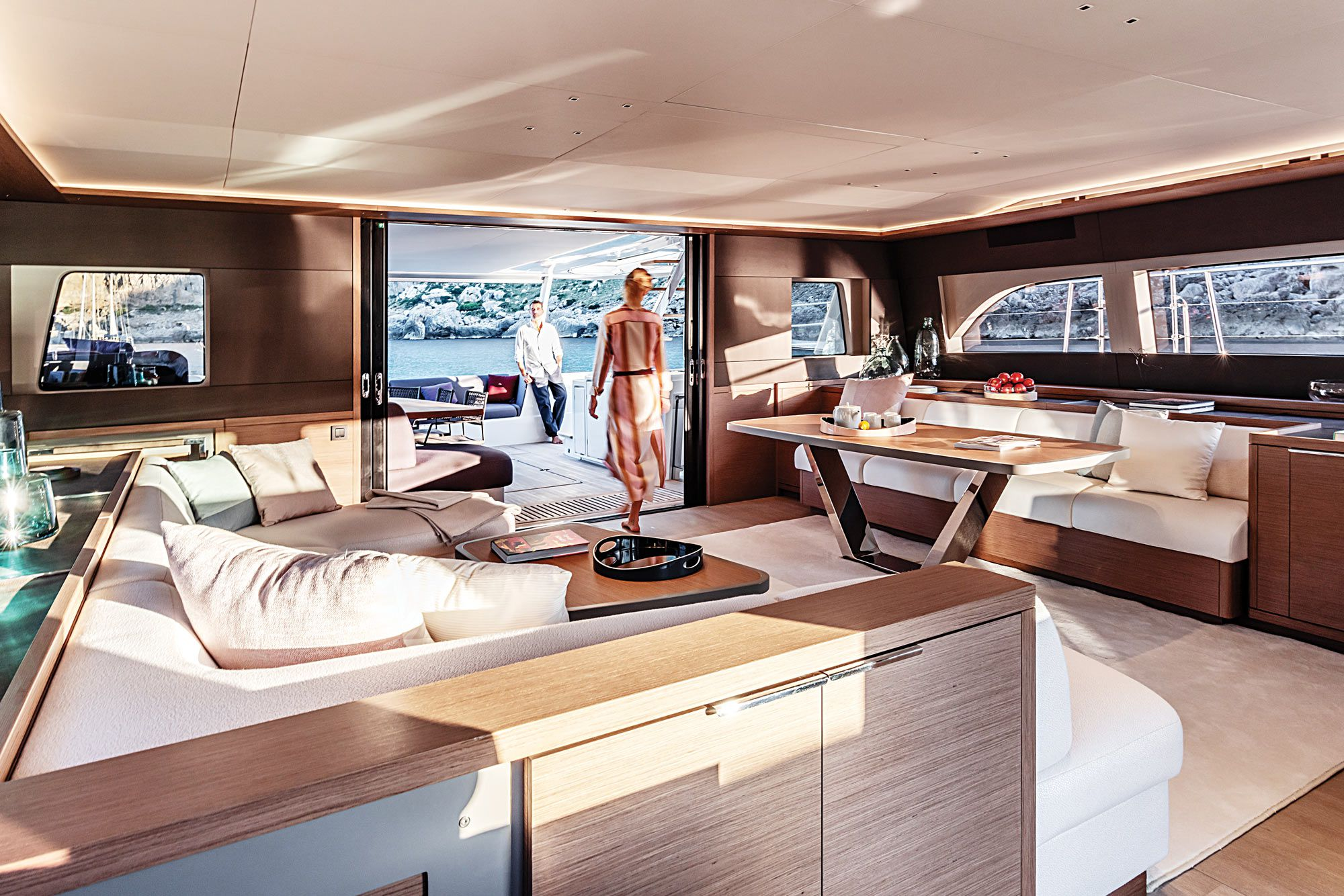 Owners can choose from several different salon layouts, depending on their preference for galley, dining and sofa placement.