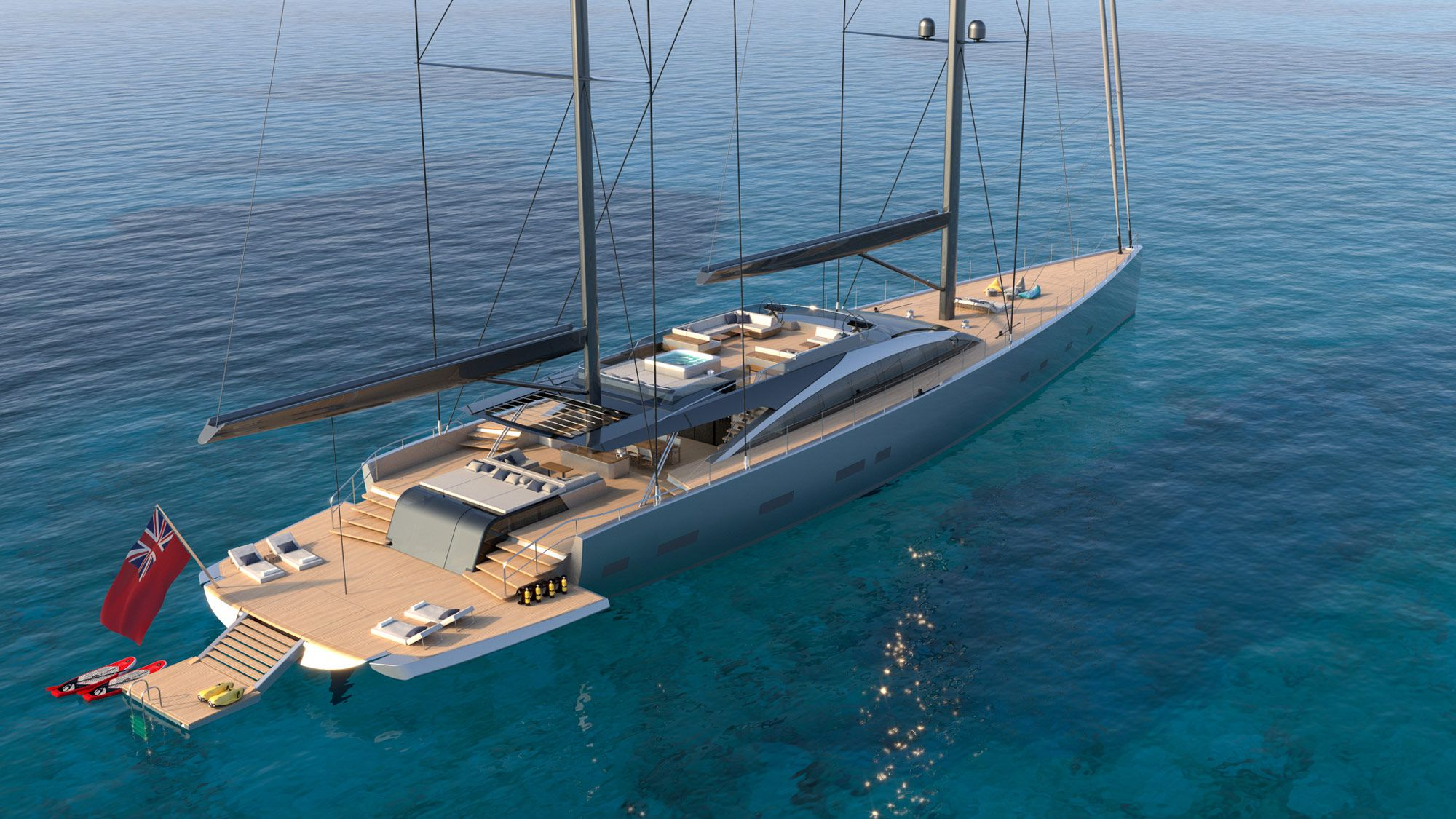 Dixon Yacht Design has debuted plans for Project 175, a 180-foot sailing yacht with a low-profile, a flybridge with helm stations and a hot tub.