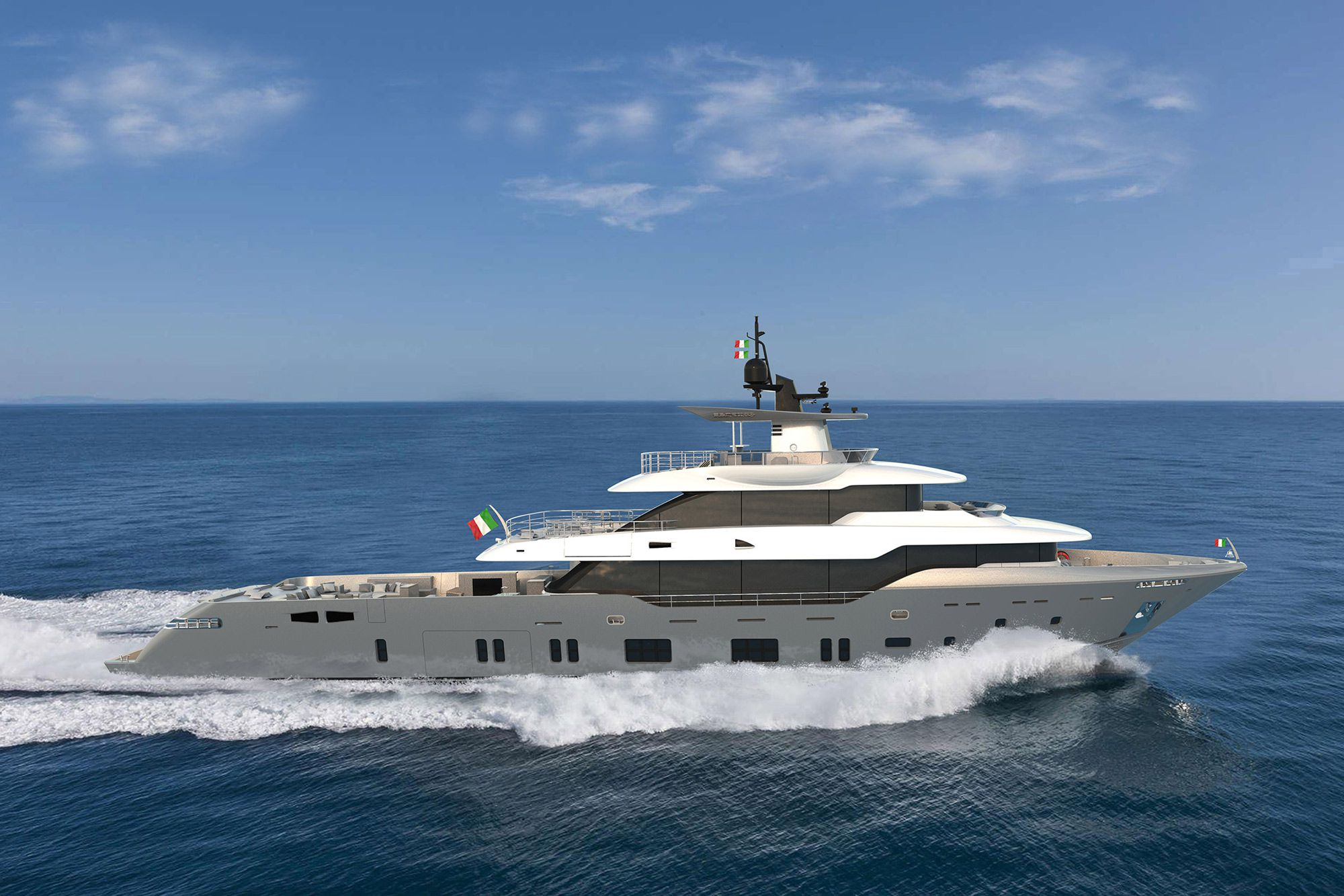 The Oceanic Yachts 140 Fast Expedition from Canados will be powered by triple Caterpillar C32 B Series engines. Range is expected to be more than 6,000 nautical miles at 10 knots.