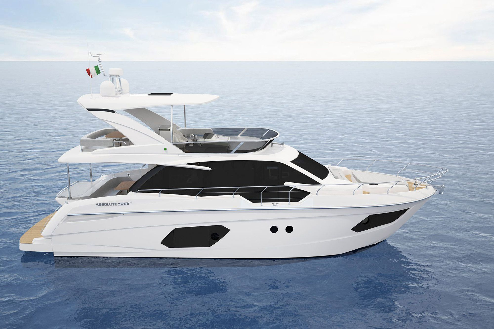 Hull-side windows flank the Absolute 50 Fly's amidships master and forepeak VIP bringing in natural light and enhancing the staterooms' sense of volume.