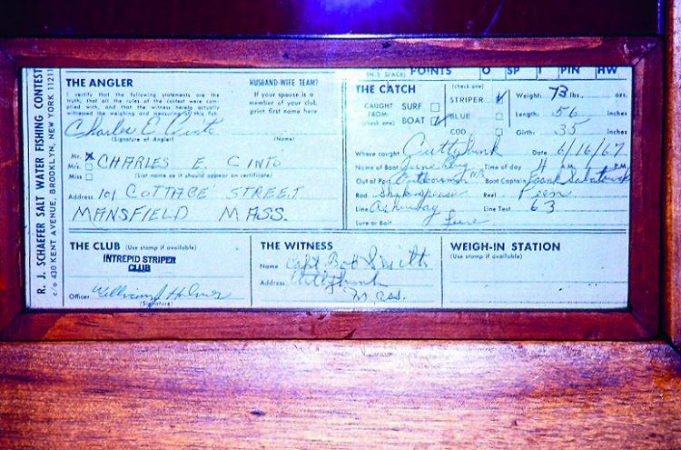 This is the original R.J. Schaefer Contest affidavit filled out by Charlie Cinto, Captain Bob Smith, and Captain Frank Sabatowski on June 16, 1967, for the first modern-day 70-pounder taken in 54 years.