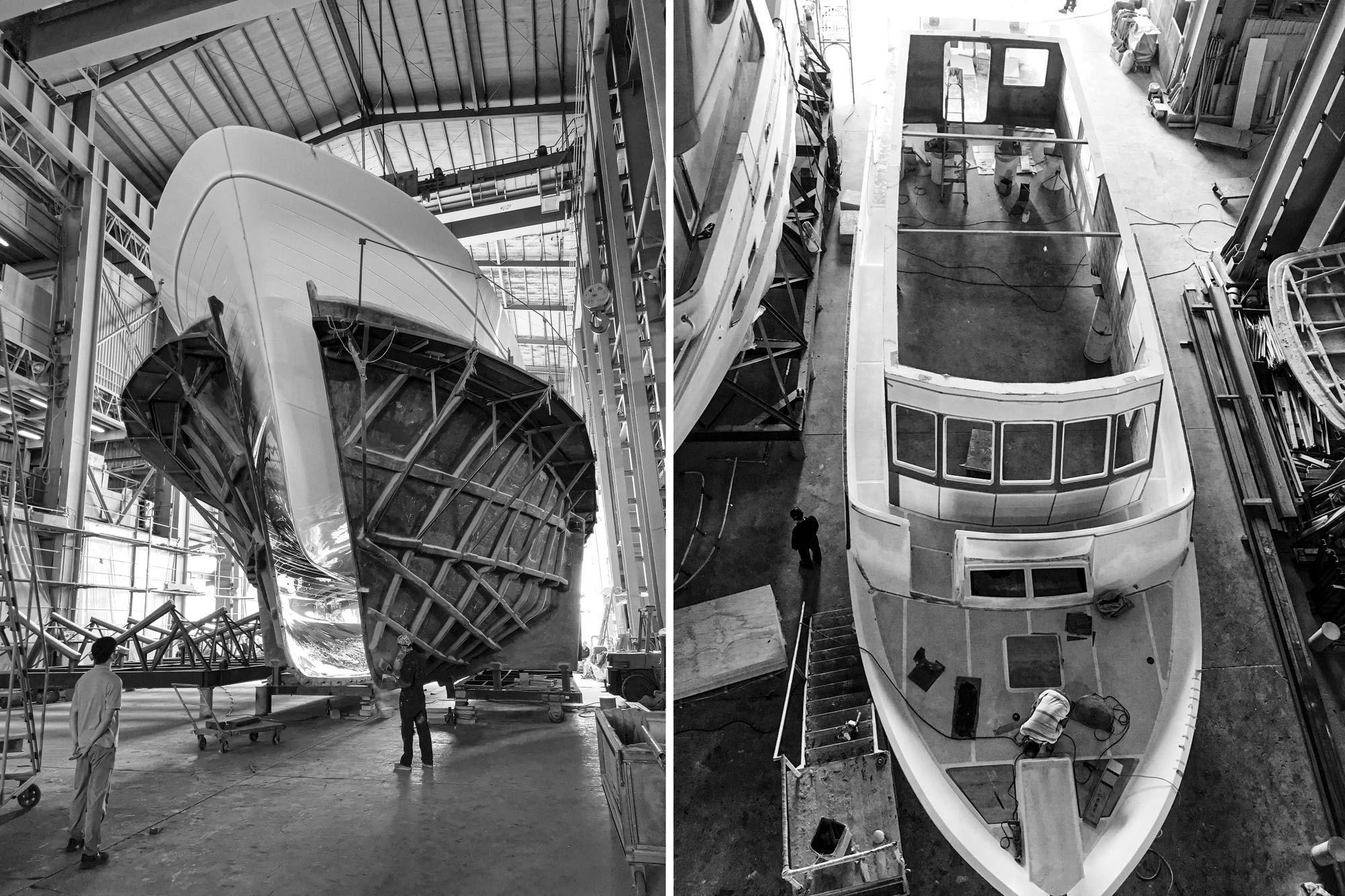On the left, an Outer Reef 860 Deluxbridge comes out of the mold at the shipyard. Customization is part of the build process at the Outer Reef yard and can be done anywhere on board. In some cases, the builder has moved bulkheads and adapted layouts to satisfy client requests.