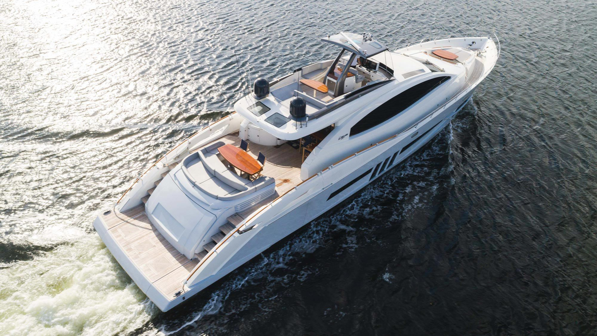 The 92-foot Lazzara <i>Helios</i> is available for charter for Super Bowl LV in Tampa, Florida.