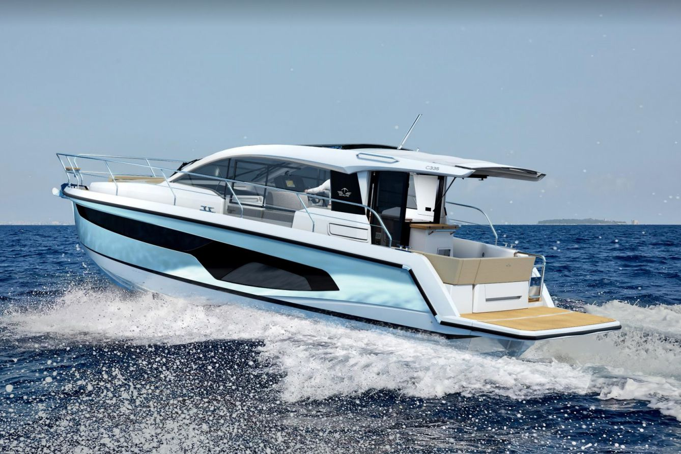 The Sealine C335 seen here can be powered with a single 340 hp or400 hp Volvo Penta inboard, or in 220 hp Volvo Penta inboards.