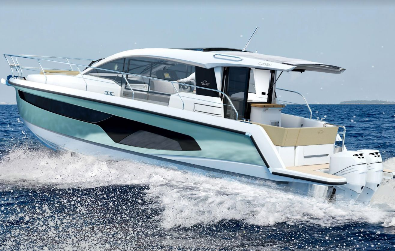 The outboard-powered C335v has twin 300 hp engines.