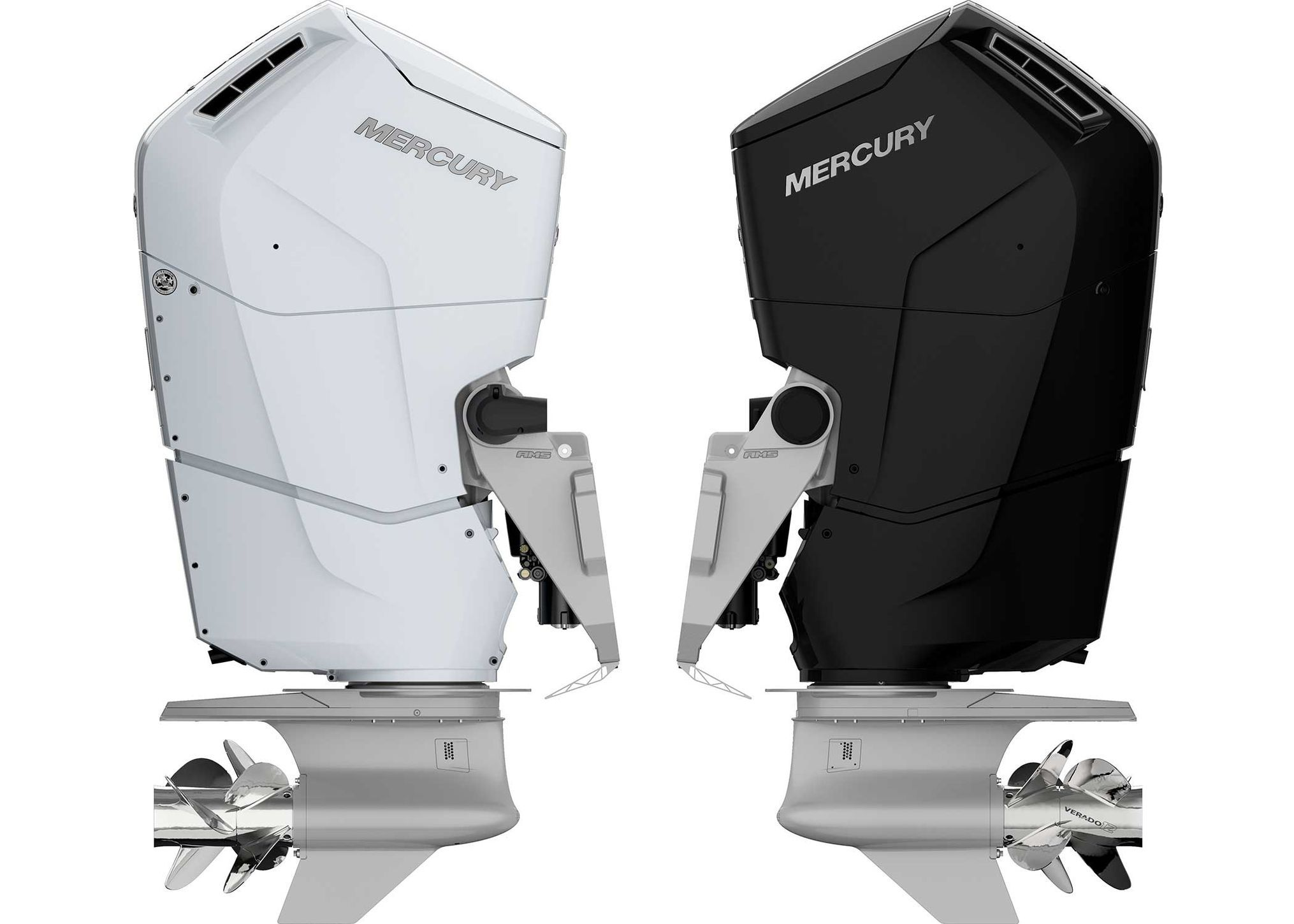 The V12 Verado will be available in black and three shades of white to best match your hull color.