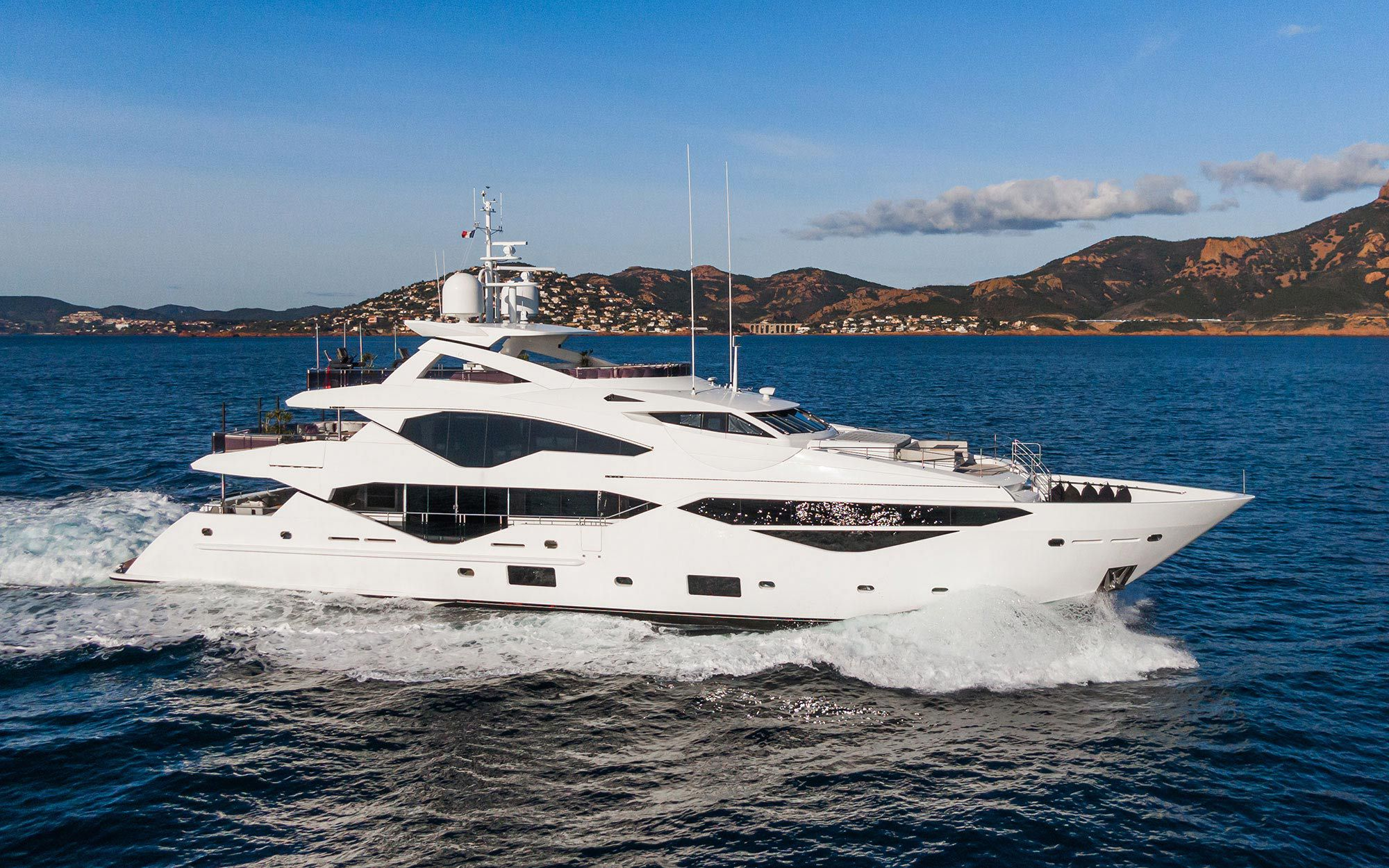 The Sunseeker 131 <i>Angelus</i> accommodates up to 12 guests in six staterooms. Asking price is about $22.7 million.