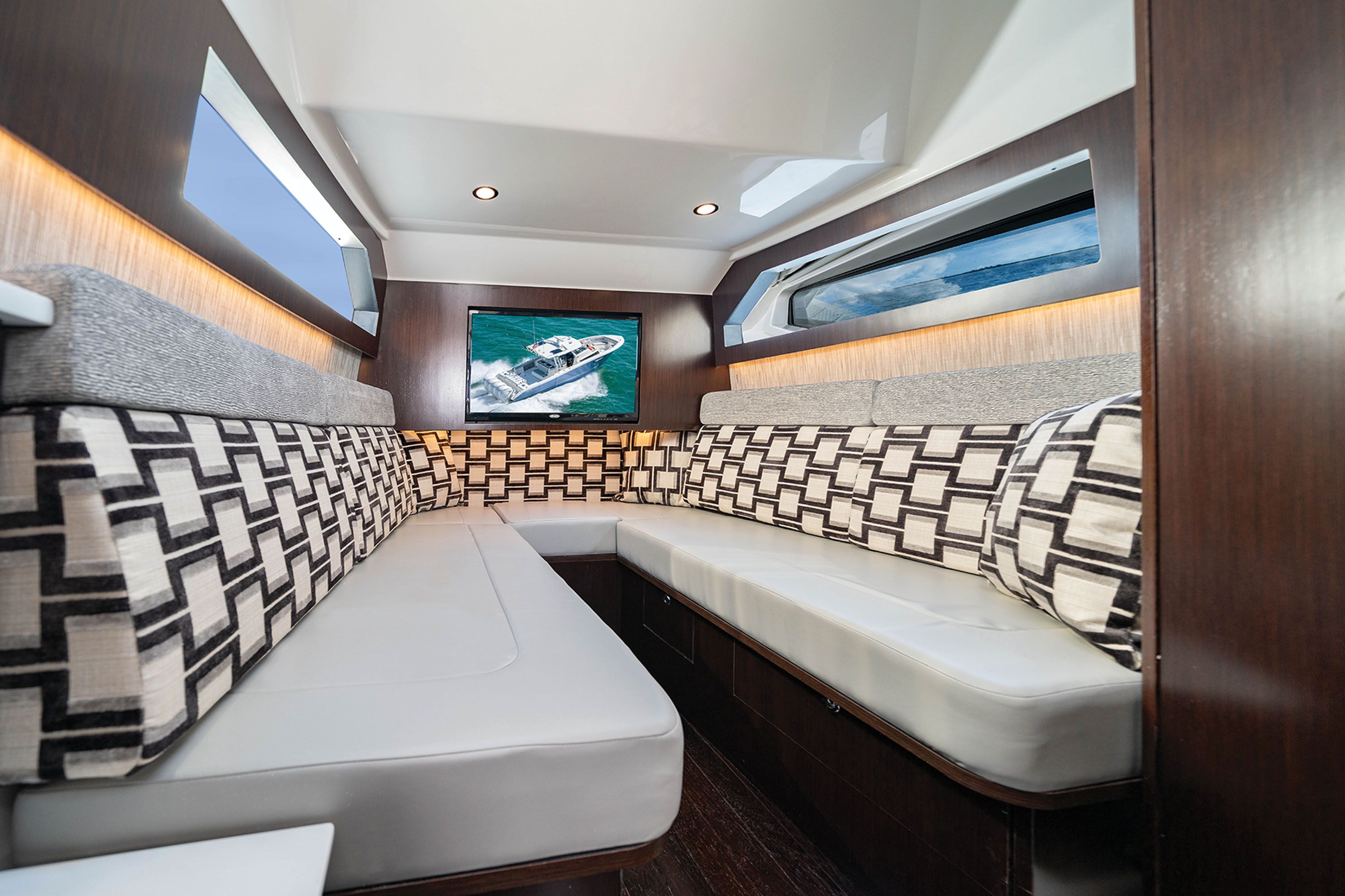 The luxurious cabin has everything needed for overnighting.