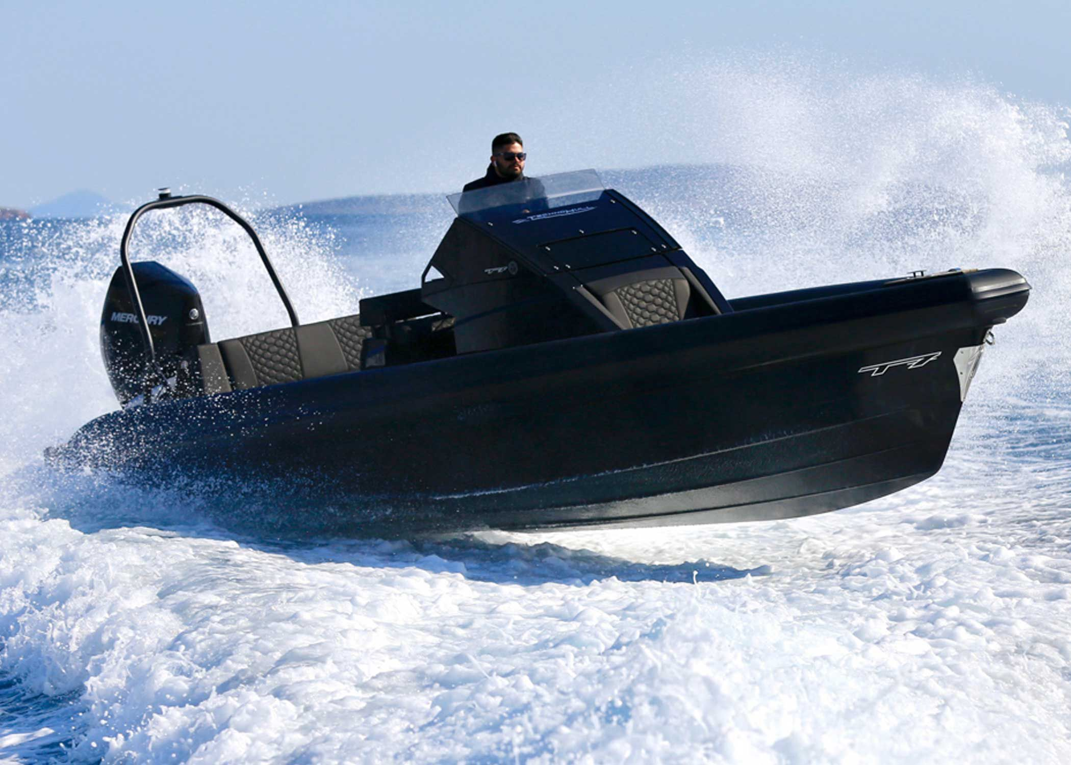Technohull says its 25-foot T7 RIB has a top speed 56-plus knots at wide-open throttle