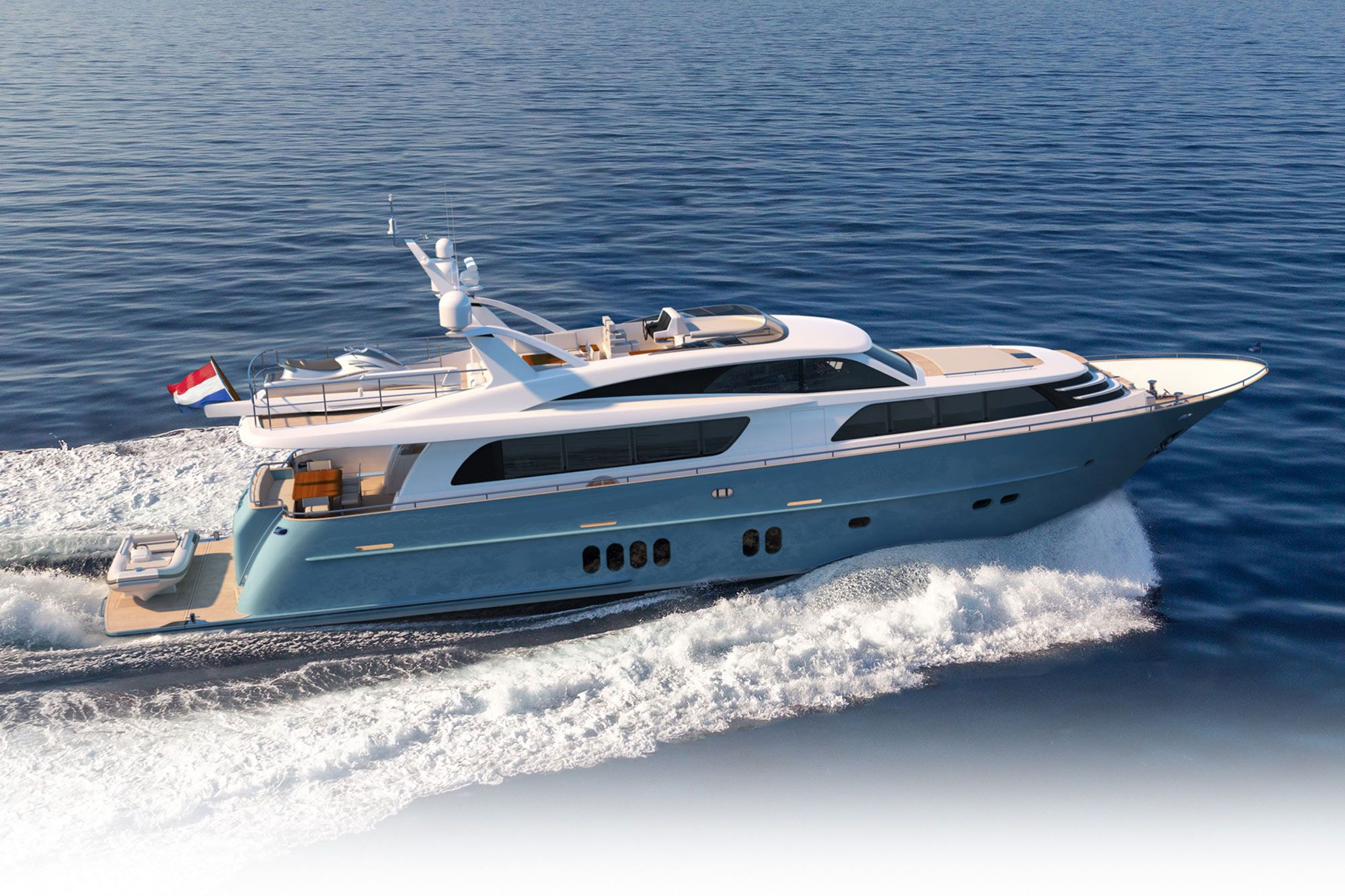 The 85-foot <i>Helga</i> has four guest staterooms and two crew cabins. Top speed: 27 knots.