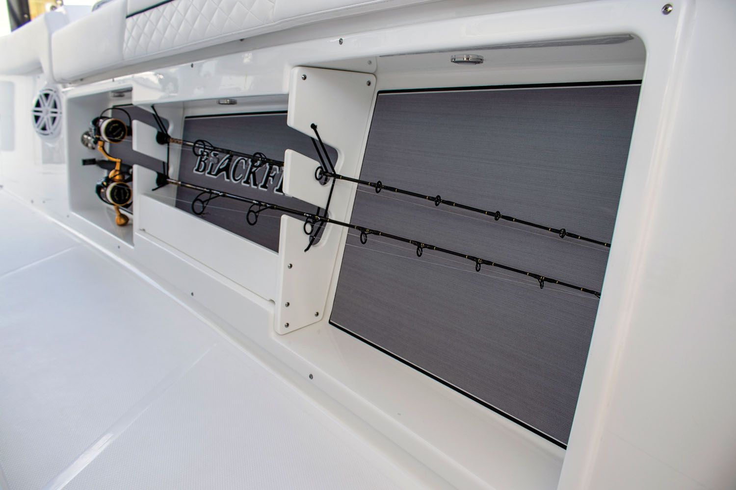 Gunwale racks keep additional rods ready yet out of the way.