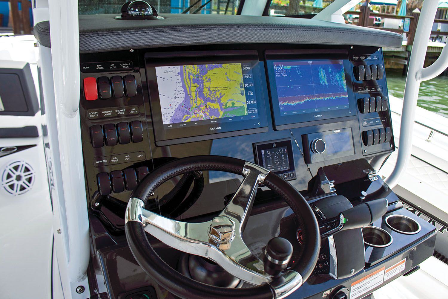 The spacious helm accommodates  dual MFDs, plus switches and other  essentials.