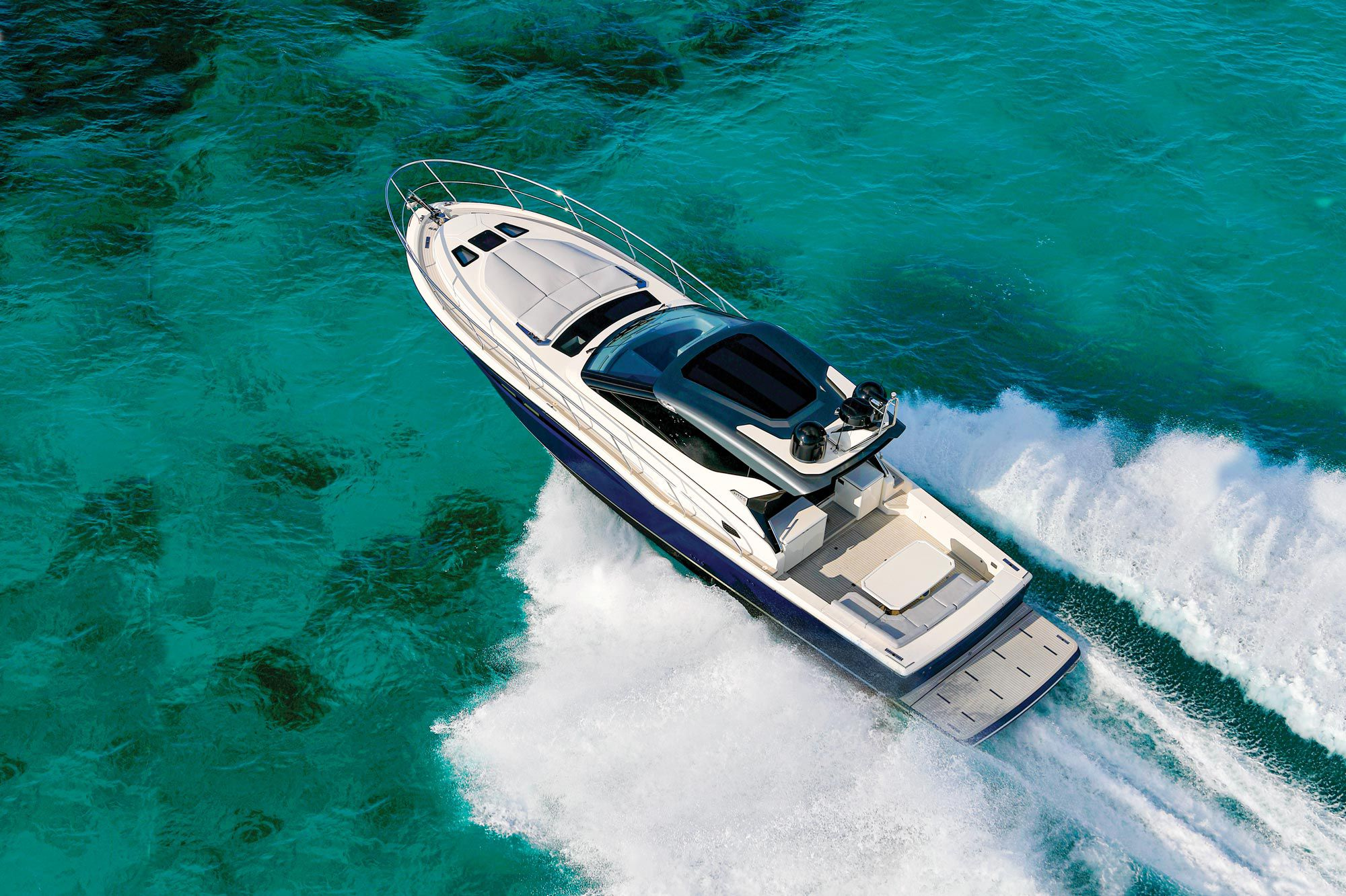 Powered with twin Volvo Penta IPS950 diesels, the Exuma HTC5 topped out at 35.3 knots in sloppy seas.