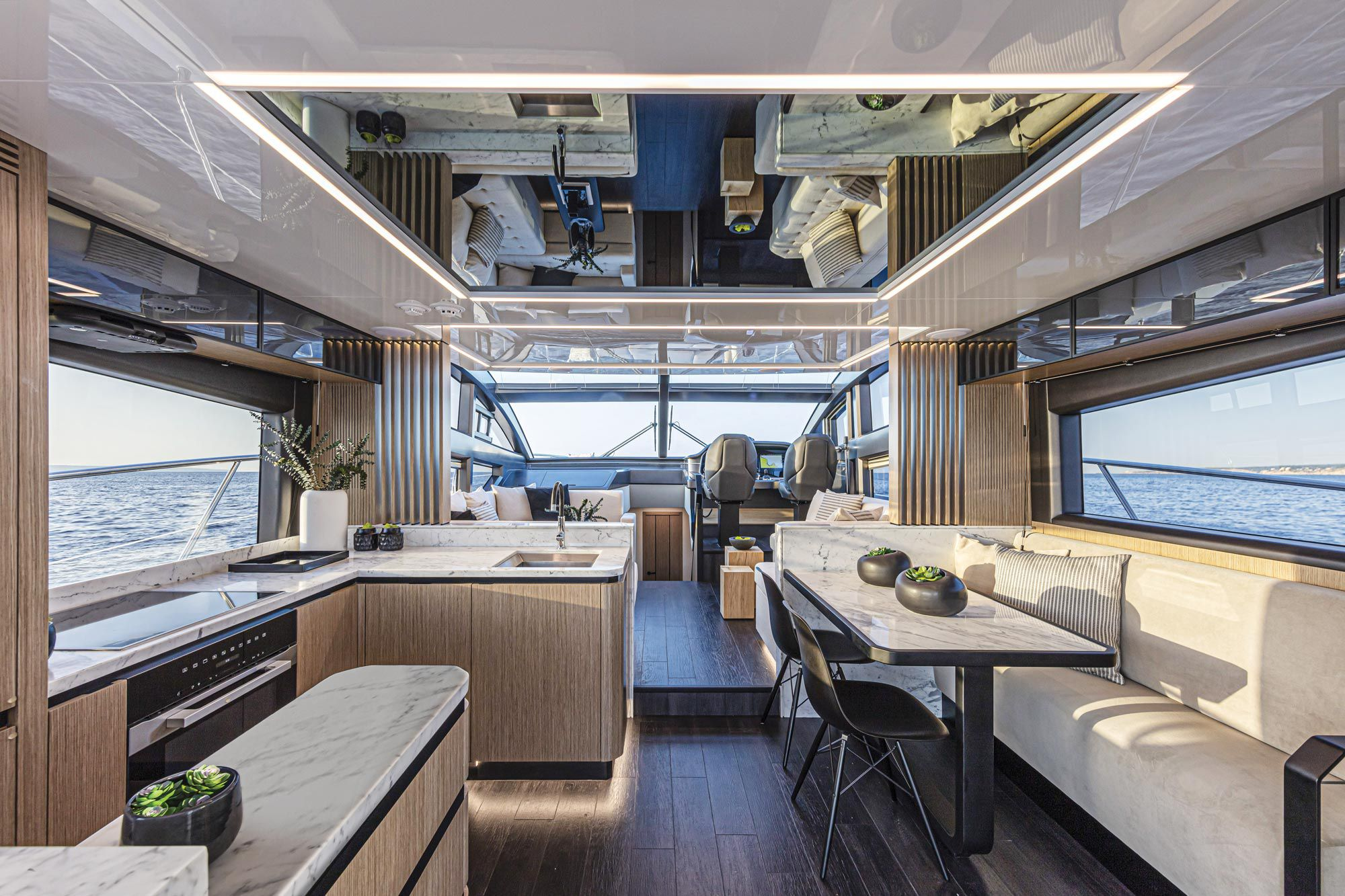 The main deck had a galley aft and to port, with the optional dinette to starboard.