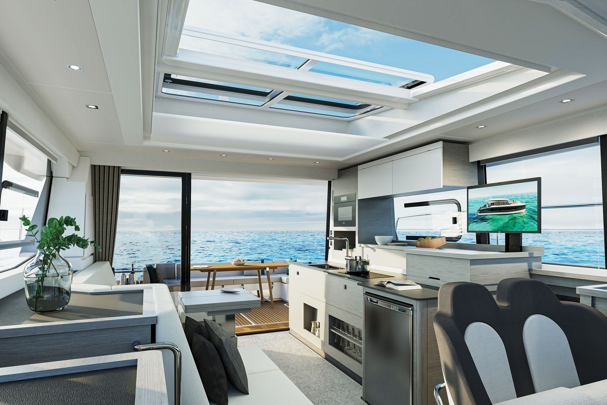 An electrically operated skylight is optional.