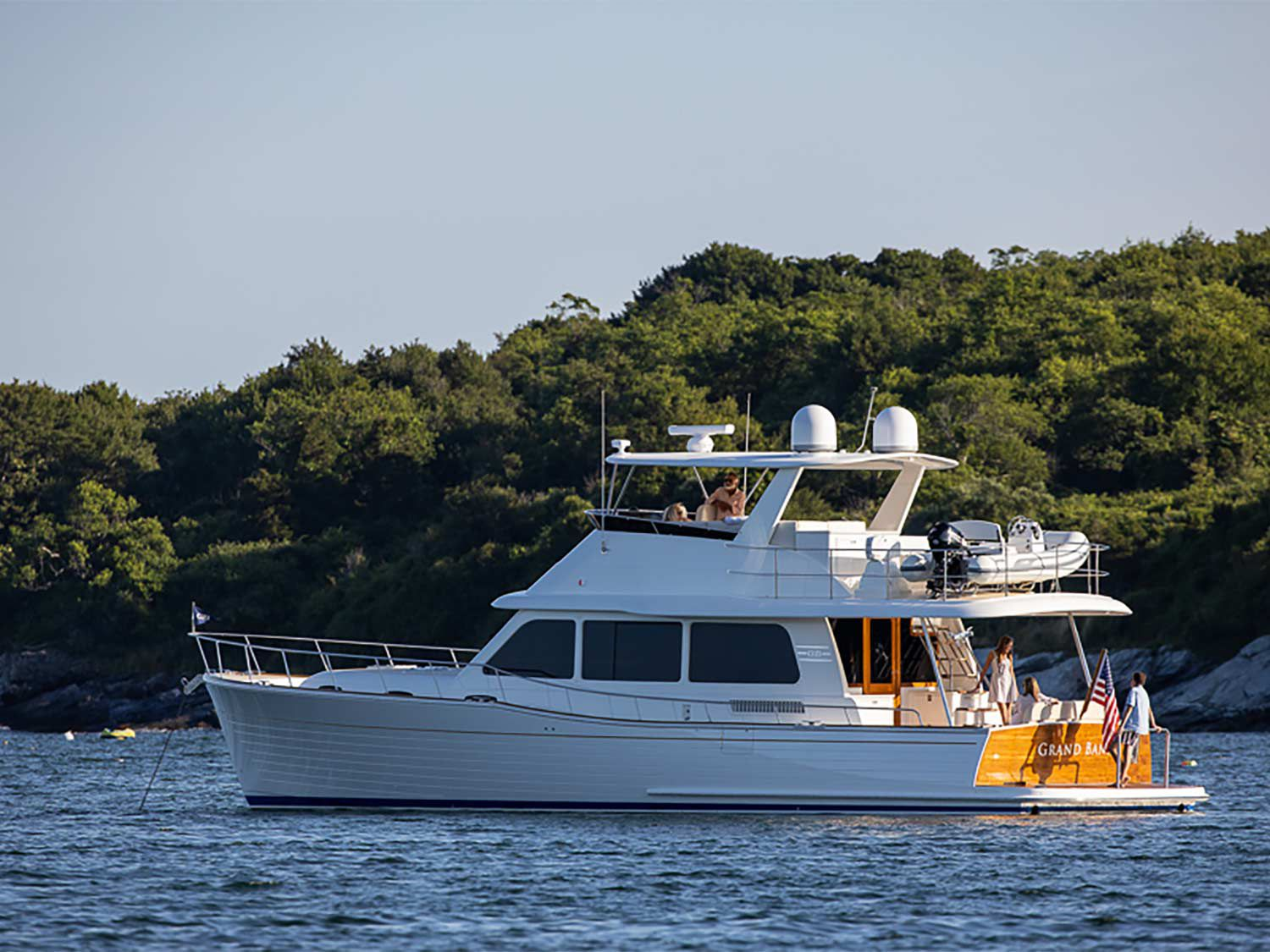 The Grand Banks 54 has a robust build with an infused fiberglass hull and infused carbon fiber decks and superstructure.