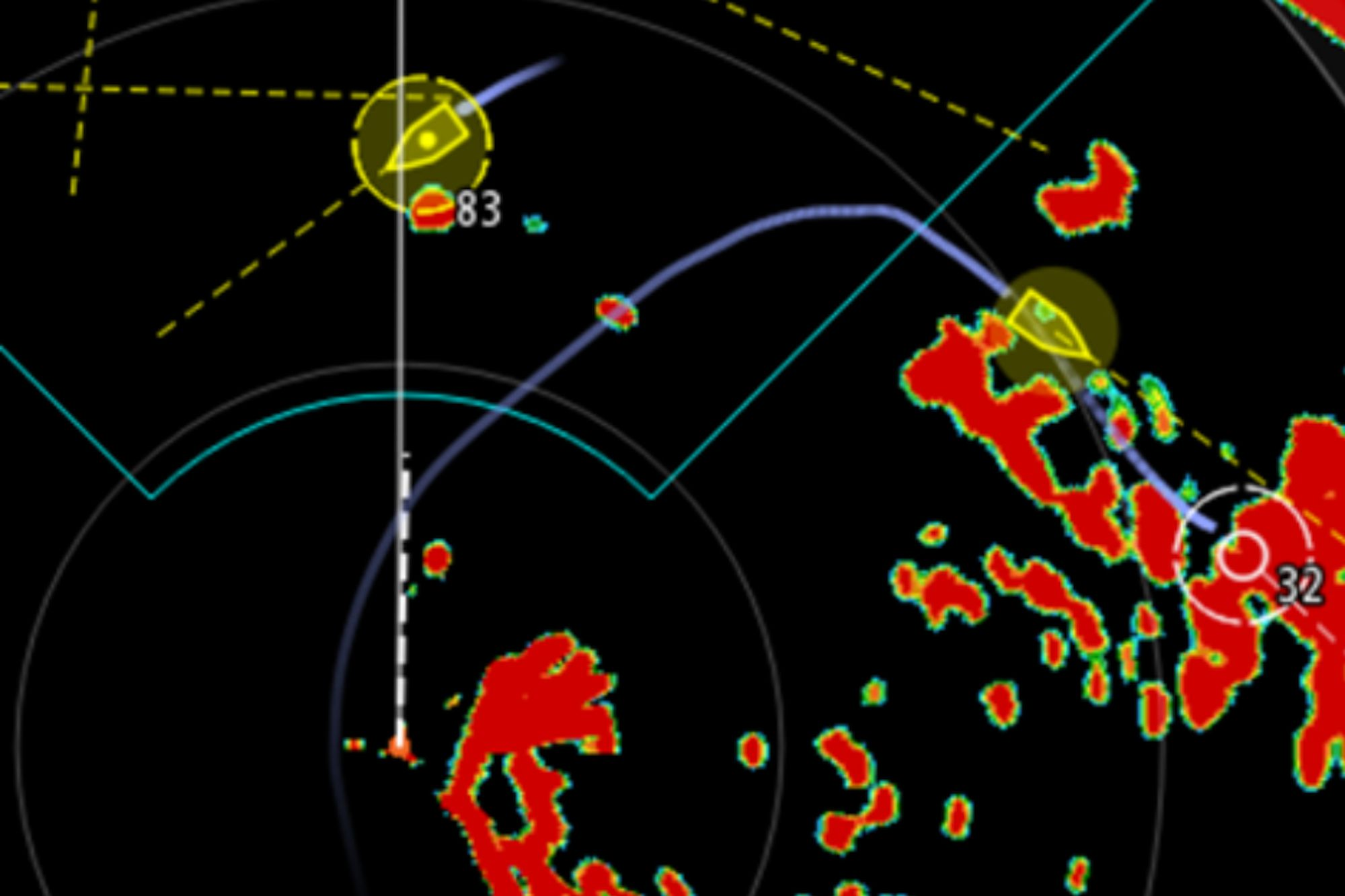 """The image shows """"radar and AIS targets displaying a graduated trail showing the vessel's past position history for greater situational awareness."""""""