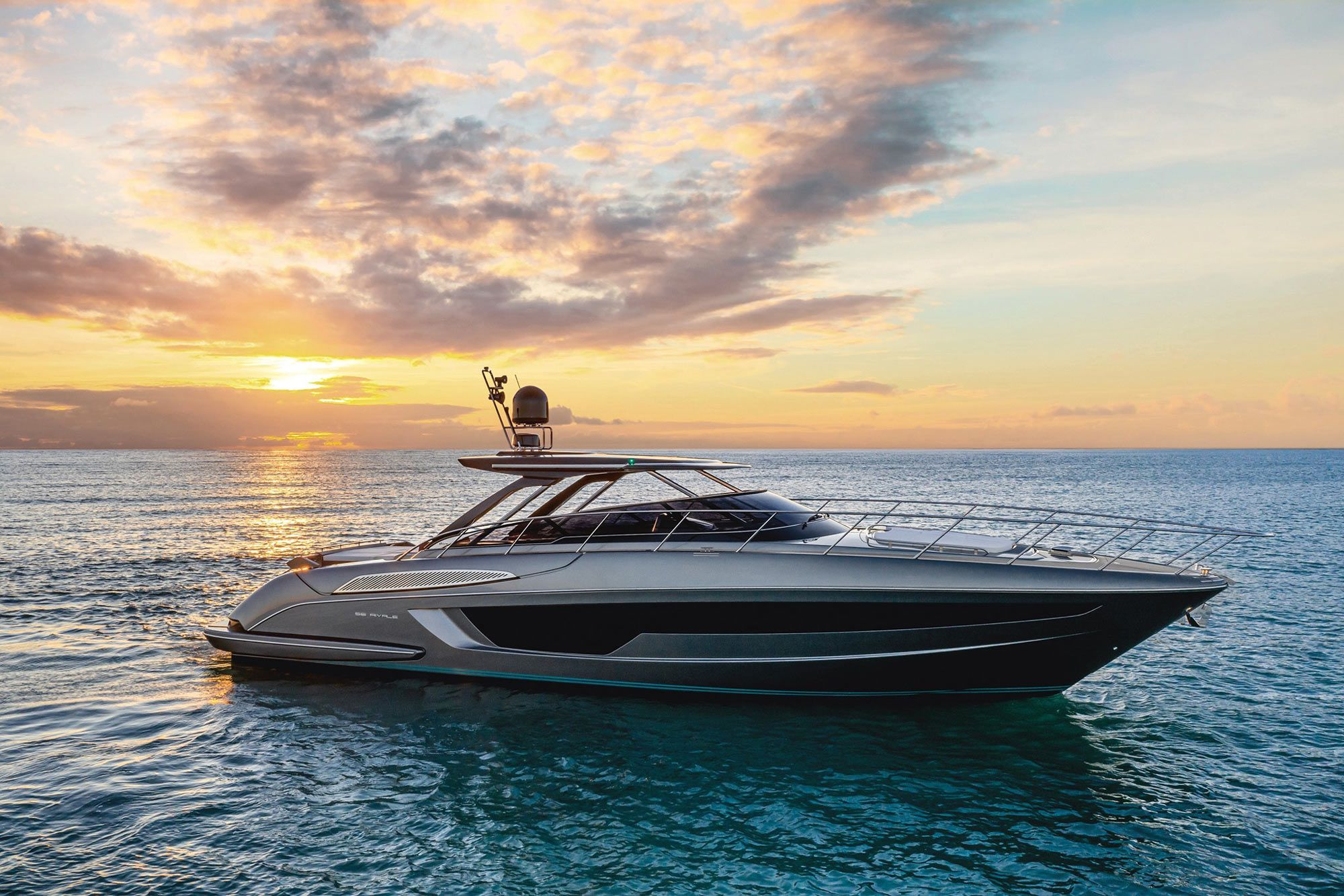 The Riva 56' Rivale Hard Top has three en suite staterooms, and with optional 1,200 hp MAN diesels it can reportedly make 38 knots.