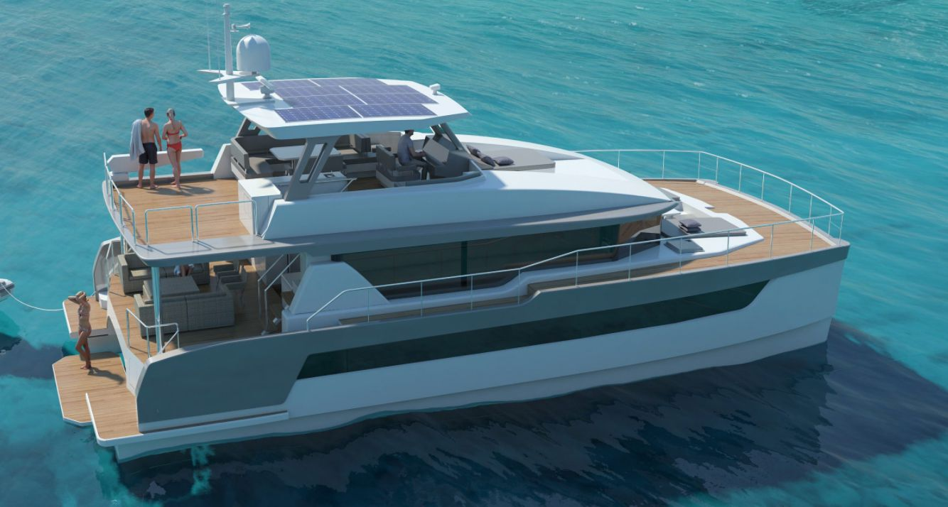 On the Two Oceans 555 Power Catamaran's flybridge helm station, there are Plasma Offshore 115 compasses and a stainless-steel steering wheel with power-assist.