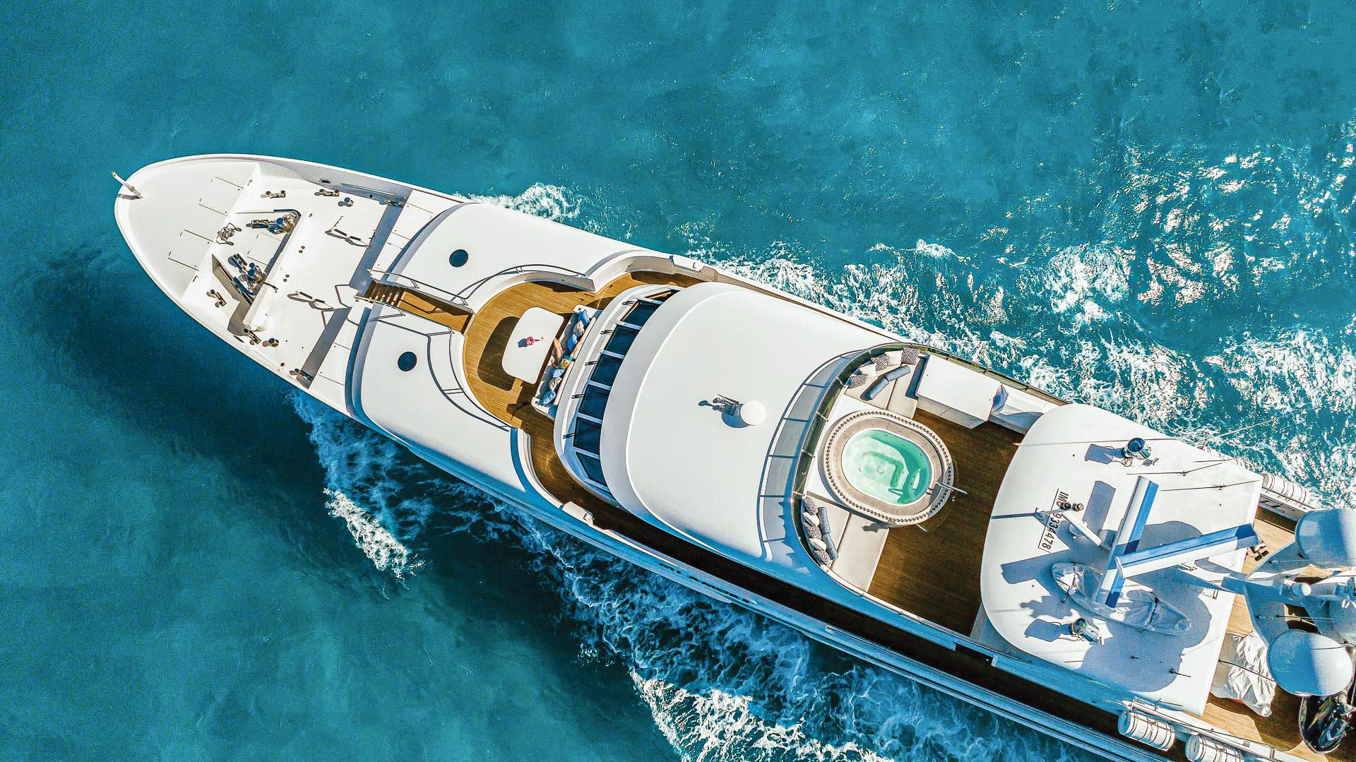 Superyacht Sales and Charter markets this 157-foot Christensen for 12guests in six staterooms. The yacht recently got an interior refit, along with new exterior soft goods.