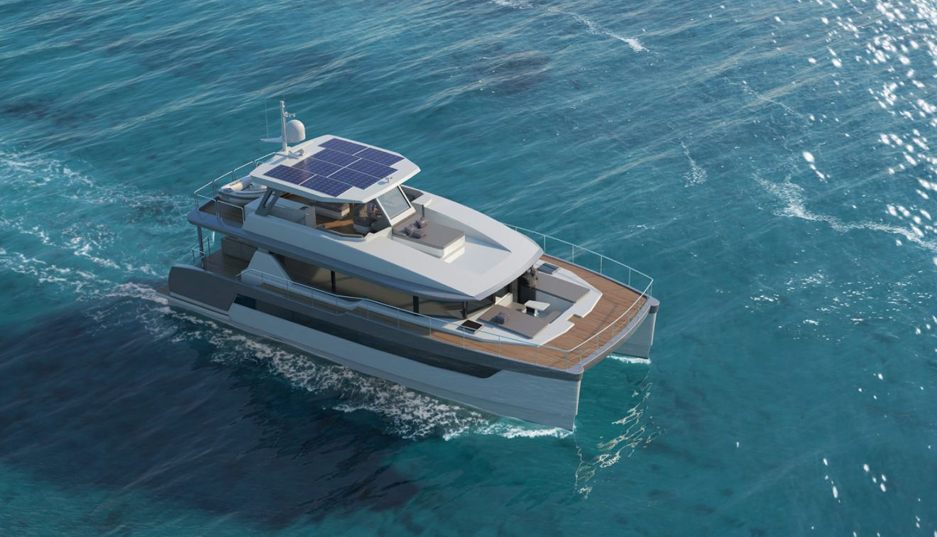 There are eight onboard solar panels on the Two Oceans 555 Power Catamaran.